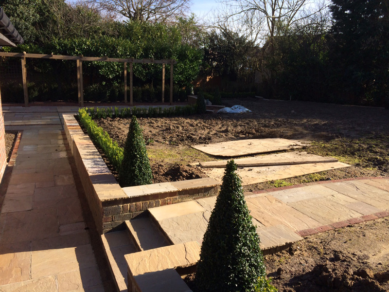 Orpington front garden driveway and rear garden design for Rear garden design ideas